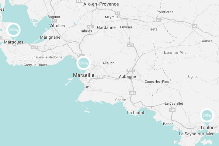 Map of hospitals: Martigues - Marseille - Toulon